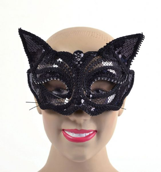 Black Cat Sequin Eyemask Feline Pussy Pet Animal Fancy Dress